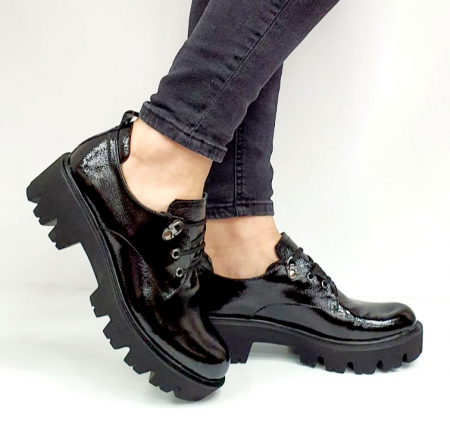Pantofi Casual Piele Naturala Negri Amarna G026510