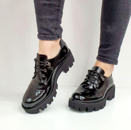 Pantofi Casual Piele Naturala Negri Amarna G026516