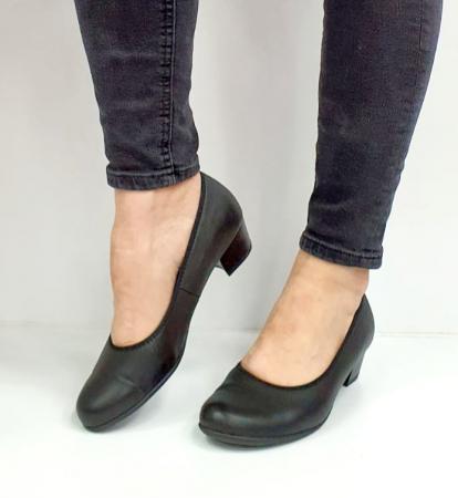Pantofi cu toc Piele Naturala Negri Giovanna D026556
