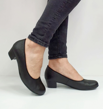 Pantofi cu toc Piele Naturala Negri Giovanna D026557