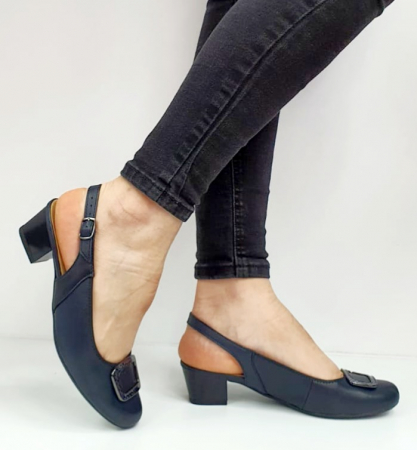 Pantofi Dama Piele Naturala Bleumarin Ara Karina D026560