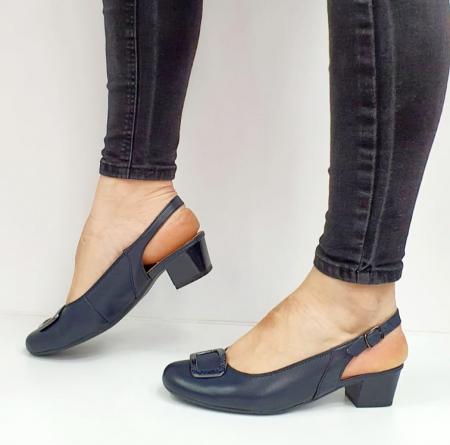 Pantofi Dama Piele Naturala Bleumarin Ara Karina D026561