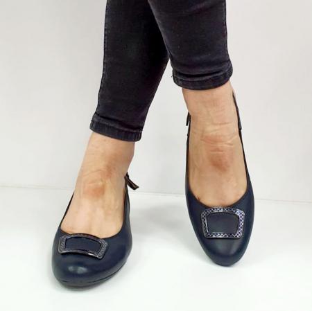 Pantofi Dama Piele Naturala Bleumarin Ara Karina D026563