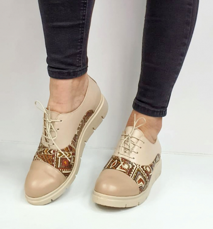 Pantofi Casual Piele Naturala Nude Brenda D026628
