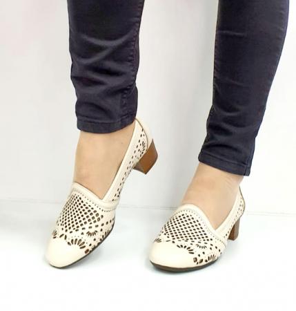 Pantofi cu toc Piele Naturala Bej Rosalia D027008