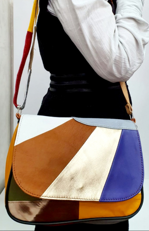 Geanta Dama Piele Naturala Multicolora Ada G007625