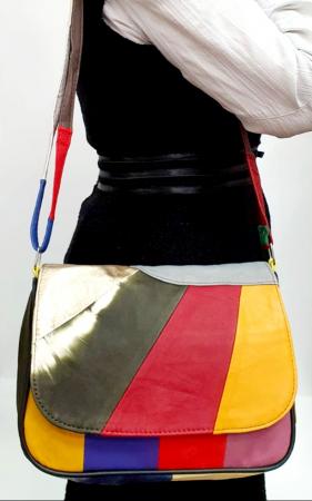 Geanta Dama Piele Naturala Multicolora G007655