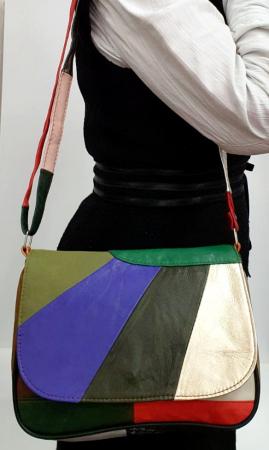Geanta Dama Piele Naturala Multicolora Ada G007775