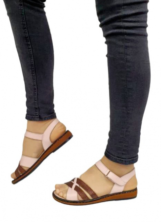 Sandale Dama Piele Naturala Nude Ielna D027131