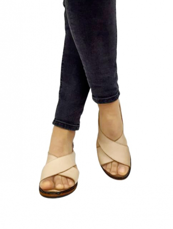 Sandale Dama Piele Naturala Bej Orama D027143