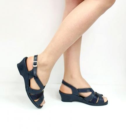 Sandale Dama Piele Naturala Suave Bleumarin Damaris D02719 [0]