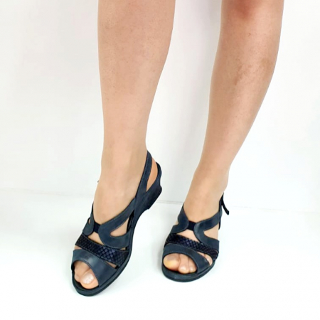 Sandale Dama Piele Naturala Suave Bleumarin Damaris D02719 [3]