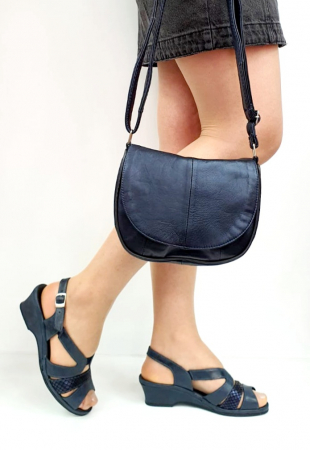 Sandale Dama Piele Naturala Suave Bleumarin Damaris D02719 [5]