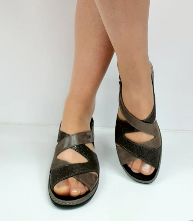 Sandale Dama Piele Naturala Suave Gri Eden D02722 [2]