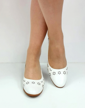 Pantofi cu toc Piele Naturala Mya Albi D02724 [2]