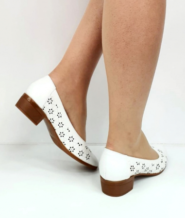 Pantofi cu toc Piele Naturala Mya Albi D02724 [4]