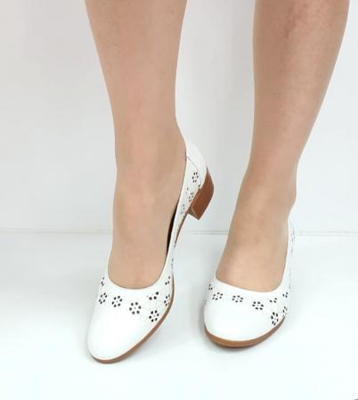 Pantofi cu toc Piele Naturala Mya Albi D02724 [3]