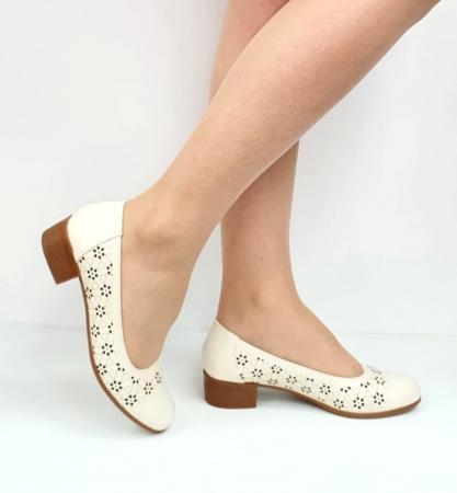 Pantofi cu toc Piele Naturala Crem Mya D02725 [0]