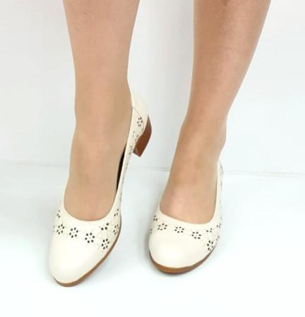 Pantofi cu toc Piele Naturala Crem Mya D02725 [3]