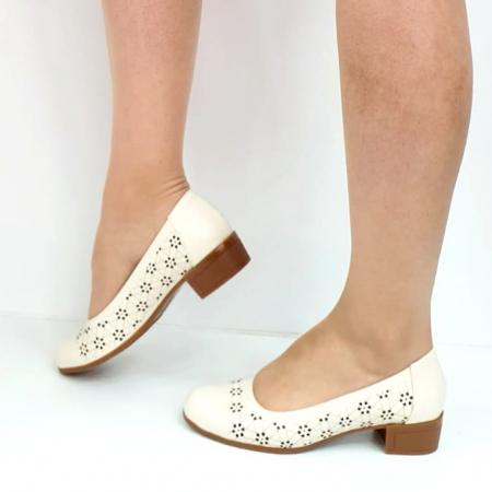 Pantofi cu toc Piele Naturala Crem Mya D02725 [1]