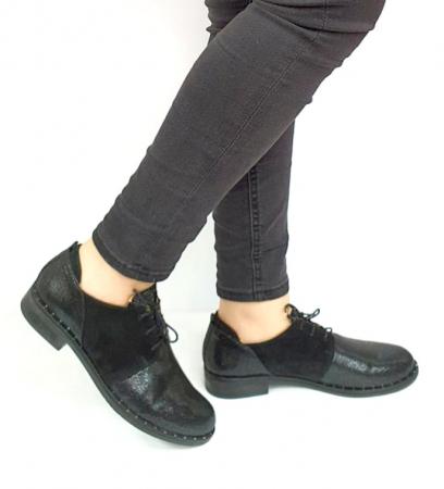 Pantofi Casual Piele Naturala Negri Adeline D02729 [0]