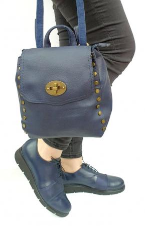 Pantofi Casual Piele Naturala Bleumarin Albertine D02731 [5]