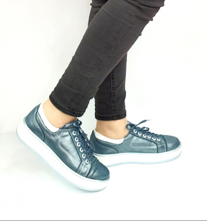 Pantofi Casual Piele Naturala Albastri Alexandrine D02733 [1]
