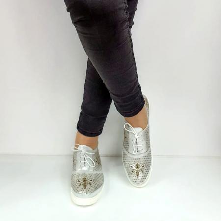 Pantofi Casual Piele Naturala Argintii Alison D02734 [2]
