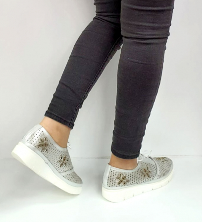 Pantofi Casual Piele Naturala Argintii Alison D02734 [3]