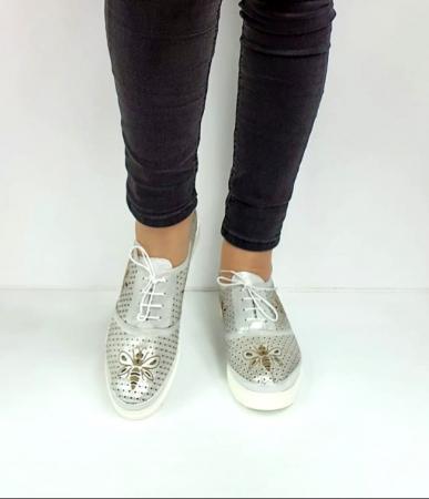 Pantofi Casual Piele Naturala Argintii Alison D02734 [4]