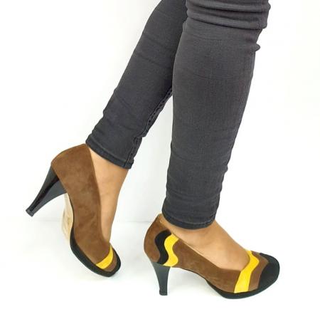 Pantofi cu toc Piele Naturala Negri Guban Edna D02737 [5]