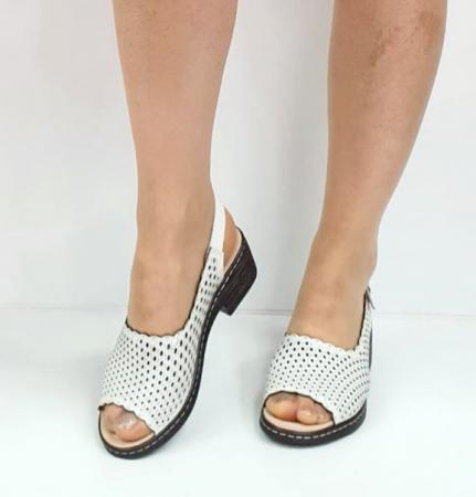 Sandale Dama Piele Naturala Albe Rachel D02743 [3]