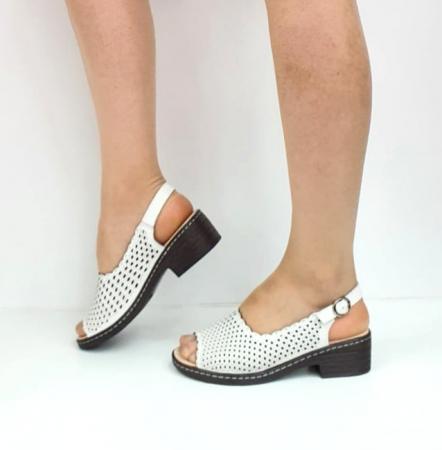 Sandale Dama Piele Naturala Albe Rachel D02743 [4]