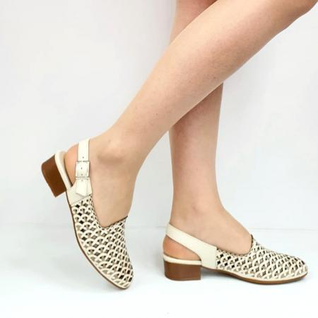 Sandale Dama Piele Naturala Prego Crem Rhoda D02745 [0]