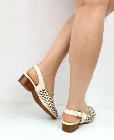Sandale Dama Piele Naturala Prego Crem Rhoda D02745 [1]