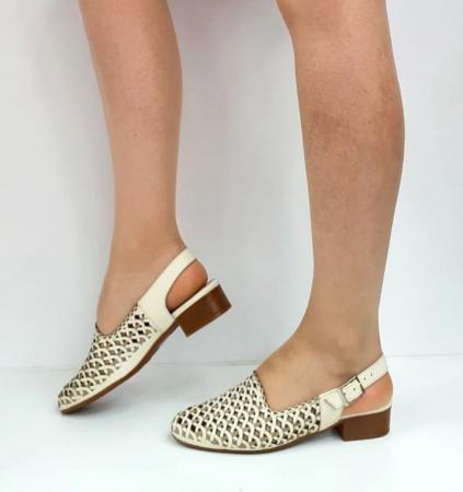 Sandale Dama Piele Naturala Prego Crem Rhoda D02745 [9]