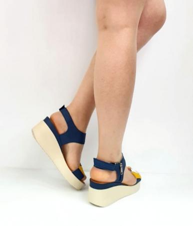 Sandale Dama Piele Naturala Bleumarin Prego Barbara D02746 [3]