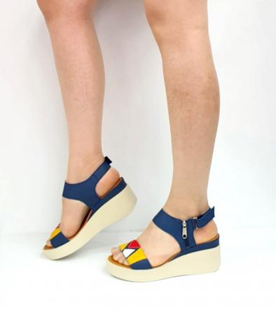 Sandale Dama Piele Naturala Bleumarin Prego Barbara D02746 [4]