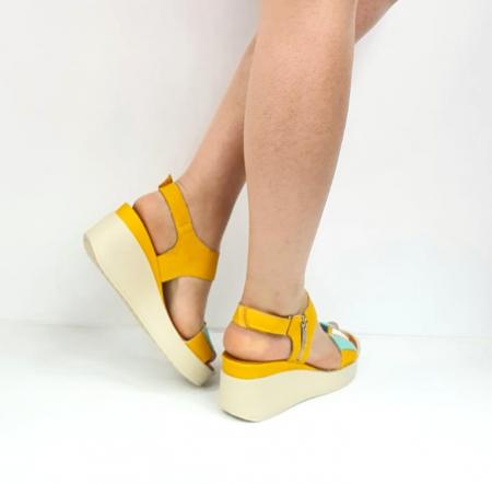 Sandale Dama Piele Naturala Galben Prego Barbara D02747 [3]