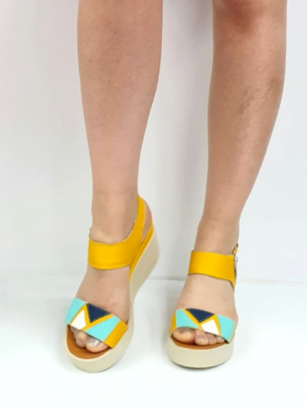 Sandale Dama Piele Naturala Galben Prego Barbara D02747 [4]