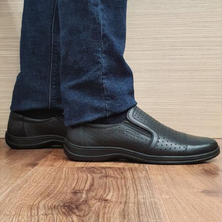 Pantofi Barbati Casual Piele Naturala Negri Otter Ilias B000690