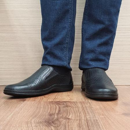 Pantofi Barbati Casual Piele Naturala Negri Otter Ilias B000691