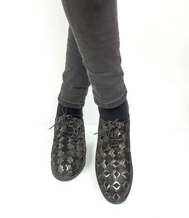 Pantofi Casual Piele Naturala Negri Dinah D02727 [2]