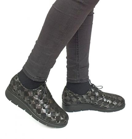 Pantofi Casual Piele Naturala Negri Dinah D02727 [0]