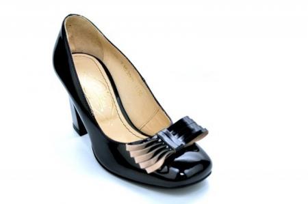 Pantofi cu toc Piele Naturala Negri Guban Amanda D011184