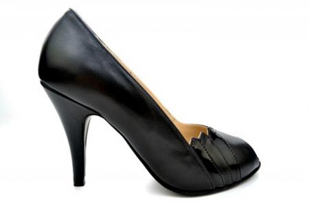 Pantofi cu toc Piele Naturala Negri Guban Brunella D011470
