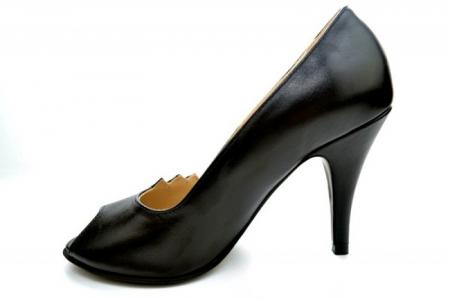 Pantofi cu toc Piele Naturala Negri Guban Brunella D011471