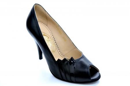 Pantofi cu toc Piele Naturala Negri Guban Brunella D011474