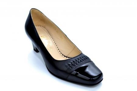 Pantofi cu toc Piele Naturala Negri Guban Miriam D011234