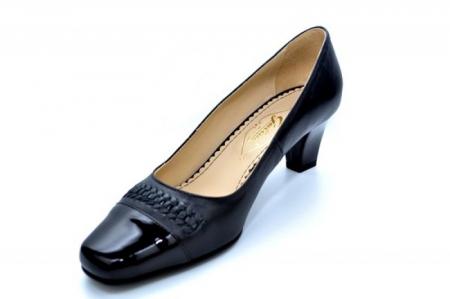 Pantofi cu toc Piele Naturala Negri Guban Miriam D011233